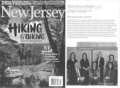 New Jersey Hiking & Biking magazine cover with a page featuring Ziegler, LLC